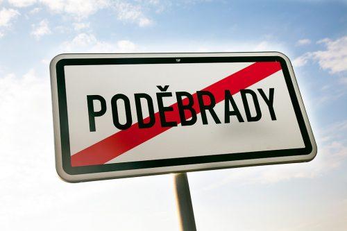 Знак конец Подебрад / Dopravní značka konec obce Poděbrady