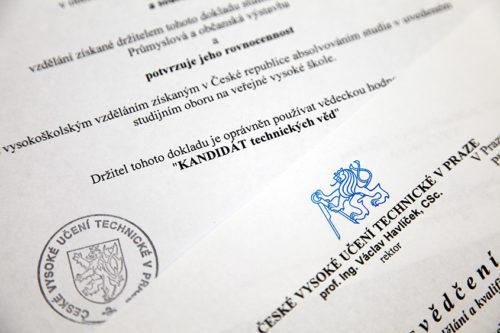 Нострификация диплома кандидата наук в Чехии