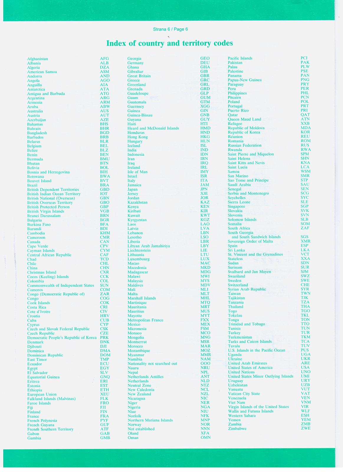 Коды государств (стран) на анкете чешского ВНЖ