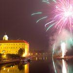 Новогодний фейерверк в Подебрадах (видео)