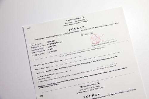 Poukaz na zkoušku z českého jazyka pro trvalý pobyt